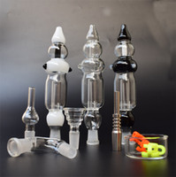 Nectar Collector Kit avec verre courbé Bowl 14mm GR2 titane Nail Pipe en verre en verre plat en plastique Keck Clip En stock!
