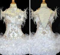 Vestidos del concurso para niñas Nuevo blanco con plumas con cuentas Hecho a mano Flores de la magdalena Organza Vestidos para cumpleaños en el concurso de niñas