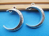 Frete grátis 50 pcs antigo tom de prata amor lua pingente charme / encontrar DIY acessório jóias fazendo
