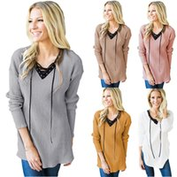 Women Solid Color T-shirt Outono Inverno Long Sleeve V-Neck Blusa com Bandage Female Casual Tops Sweatshirt RF0628