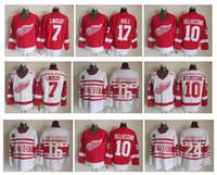 Detroit Red Wings Hockey Jersey 7 Ted Lindsay 10 Alex Delvecchio 17 Brett Hull 16 Konstantinov 24 Probert Vintage CCM Jerseys