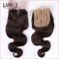 Silk Base Closure Brazilian Malaysian Peruvian Indian Cambodian Body Wave Human Hair Silk Lace Closures Free/Middle/3 Way Part Hidden Knots