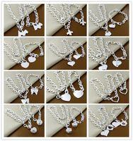 Ordre mélangé 12set / lot 925 argent sterling plaqué coeur pendentif collier bracelet bijoux de mode ensemble joli cadeau mignon livraison gratuite