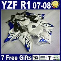 NEW HOT fairings + Tankabdeckung für YAMAHA R1 Verkleidung Kits 2007 2008 YZFR1 07 08 blau weiß Injection ABS MT62