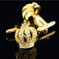 Самые новые кристаллические застежки короны для медного мешка cufflink wedding Cuff Link Fashion Jewelry Лучший подарок Xmas W139