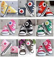 18% скидка Вязание крючком Детская обувь Детские крючком кроссовки теннис пинетки младенческой спортивная обувь хлопок 0-12 м Размер Toddle Walker обувь 3 пары / 6 шт.