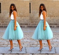 Fashion Short Skirts For Women Knee Length Tulle Blue Tutu S...