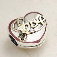 2015 Autum 925 Sterling Silver 14K Real Gold Heart of Love Clip Charm Bead con Cz Se adapta al estilo Pandora Europeo Pulseras y collares