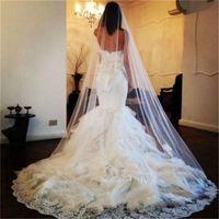 Impressionante Branco One-Layer Véus De Noiva Longos Com Borda Do Laço Applique Marfim Tule Véu De Noiva Barato Acessório Do Casamento Frete Grátis Em Estoque