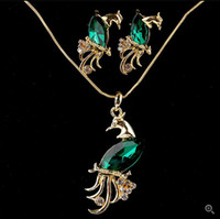 Hot Sale Austrian Crystal The Peacock Pendant 18K Gold Plated Necklace&Earrings Set Elegant Vintage Jewelry Sets For Women
