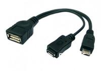 50 adet Kablo OTG USB Tip A Dişi Mikro USB Erkek Konak OTG Mikro USB Kadın Y Kablosu ile
