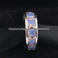 925 Sterling Silber Eternity Spacer Charm Bead mit Opalescent White Cz Passt europäischen Pandora Style Schmuck Armbänder Halsketten Anhänger