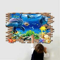 70*100 CM PVC Removable Vivid 3D Dolphin Decorative Wall Sti...