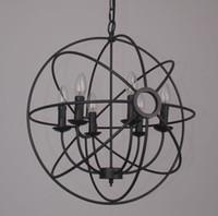 Anhänger FOUCAULT'S IRON ORB CHANDELIER RUSTIKALES EISEN Loft Licht RH Lighting Vintage Pendelleuchte 50cm 65cm