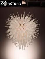 현대 볼 샹들리에 - 천장 장식 옥수수 유리 파이프 지우기 크리스탈 샹들리에 LED 광원 100 % 손으로 날리는 유리 펜던트 샹들리에