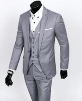 Custom Made Slim Fit Bräutigam Smoking Hellgrau Bester Mann Anzug Notch Revers Groomsman Männer Hochzeitsanzüge Bräutigam (Jacke + Pants + Krawatte + Weste)
