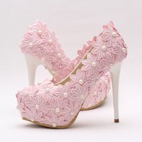 아름 다운 핑크 레이스 꽃 결혼식 신발 라운드 발가락 여성 공식적인 드레스 신발 높은 뒤꿈치 들러리 들러리 신발 파티 파티 펌프
