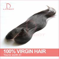 Betyg 6a peruansk rak spets stängning Virgin mänskligt hår topp schweiziska spetsar stängningar 4x4 storlek gratis / mitt / 3 väg del peruanska spets stängning