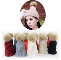 Großer Faux Rubbit Pelz Ball Pom Pom Strickhut Frauen Winter Woolen Beanie Hat Viele Farben