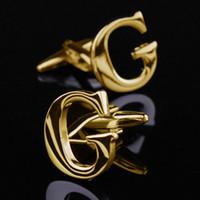 En Moda Yılbaşı Hediyeleri Altın Soyadı Kol Düğmesi G Mektubu