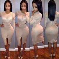 New Khaki Sexy Dress Sleeveless Knee- length Hollow Out Backl...