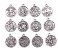 24 Pcs Fashion Assorted Antiqued Silver Zodiac Charm Pendant...