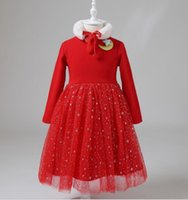 Autumn winter RED Girls Princess Dress Casual Long Sleeves l...