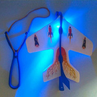 Wholesale-LED Flare Copter Amazing Slingshot Airplane Light Toy Bright Spin Fly Glow