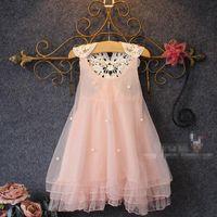 Vestito perlato in pizzo per ragazze 2015 nuova adorabile principessa Vestito per bambini in pizzo senza maniche per ragazze