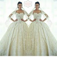 Gorgeous Ziad Nakad Sweetheart vestidos de novia 2016 apliques de encaje perlas de cristal Sheer vestidos de novia princesa por encargo árabe
