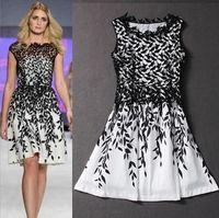 Perakende Moda kadın Akşam Elbise Nakış Dantel Yaprak Baskı elbise Yaz Tankı Casual Elbise Kolsuz kadınlar için Siyah Beyaz Elbise