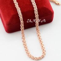 Оптовая продажа-5 мм 20 дюймов 24 дюймов мужские женские аксессуары твердые 18 к розовое золото заполненные звено цепи ожерелье ювелирные изделия мода новый