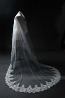 Элегантная белая / слоновая слоновая слоновая свадебная вуаль тюль кружева аппликации свадебная вуаль для церкви 2021 новое прибытие