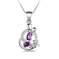 Envío gratis moda de alta calidad 925 corazón de plata púrpura diamante joyería 925 collar de plata del día de San Valentín regalos de vacaciones caliente 1680