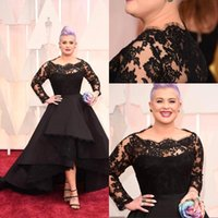 Kelly Osbourne 2015 87th Oscar Awards Red Carpet Dresses Bateau una línea de encaje mangas largas vestidos de noche altos vestidos de baile bajo Celebrity Dress