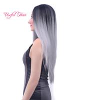 Mode noël ombre gris couleurs 60cm droit perruques synthétiques synthétique aucune perruque avant de lacet perruques de cheveux synthétiques résistant à la chaleur pour les femmes