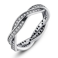 s925 Sterling Silver AAA Zircon Stone Corrugated Ring Temper...