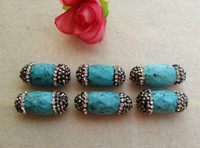 10Pcs Natural Turquoise Druzy Stone Beads With Pave Rhinesto...