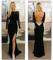 2015 Muslim Charming Backless Black Formal Evening Dresses With Long Sleeves Side Split Party Dress Lace Prom Gowns CJ0062