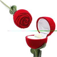 Feestartikelen groothandel-hot elegante mode rode roos bloem sieraden gift ring oorbellen hanger box case bruiloft decoratie dropshipping hoge kwaliteit fabriek