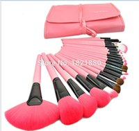 4 set / lotto professionale 24pcs trucco set di pennelli trucco kit da toilette lana marca make up set di pennelli + custodia in pelle dhl spedizione gratuita