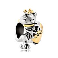 Персонализированные женщины ювелирные изделия корона лягушка сердце любовь европейский шарик металла браслет с большим отверстием Pandora Chamilia совместимый