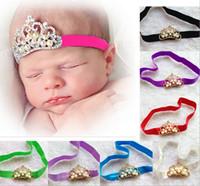 детские аксессуары для волос ребенка оголовья девушки дети детей ленты для волос короны оголовья с бриллиантом и жемчугом 12 смешанных цветов