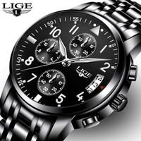 647a07f7bd3 Relogio masculino LIGE Mens Relógios Top Marca de Negócios de Moda de Luxo  Relógio de Quartzo