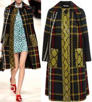 Мода пледа Gird Print Женская пальто покрыта кнопка Trench 15100905