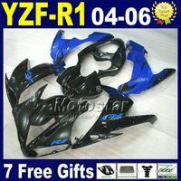 طقم حقن لـ 04 05 06 YAMAHA yzf R1 fairing kit أسود أزرق دراجة نارية B69N 2004 2005 2006 r1 fairings body kits