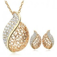 Высший сорт Кристалл Ювелирные наборы Свадебное Стразы Gemstone серьги ожерелья Набор ювелирных изделий из серебра оптовой бесплатную доставку - 0012LD