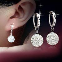 Cristal austriaco cuelga los pendientes Rhinestone bola de discoteca oreja joyería 925 pendientes de plata para el banquete de boda a estrenar