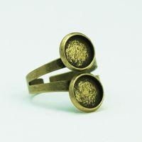 Base de doble anillo Beadsnice para la fabricación de joyas Base de anillo ajustable de latón antiguo con dos bisel redondo de 10 mm ID 29355