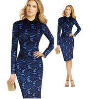 Плюс размер синий кружевной вышивка отворот шеи тонкий корпус платье женщин с длинным рукавом MIDI платье элегантный винтаж до XXXXL